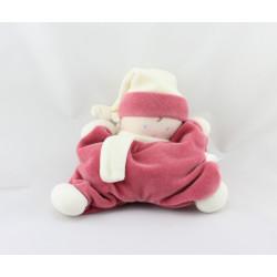 Doudou semi plat baby corolle blanc rose grenadine Corolle