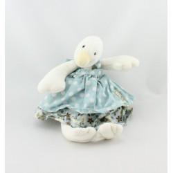 Doudou Oie canard la grande famille robe bleue fleurs Moulin Roty