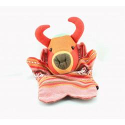 Doudou plat marionnette Taureau tissu indien rouge orange