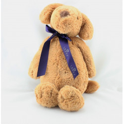 Doudou peluche chien marron noeud violet BARBARA LEBEK