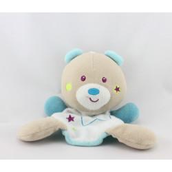 Doudou plat ours beige bleu phosphorescent Magidoux SUCRE D'ORGE