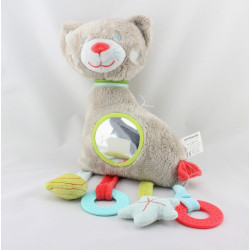 Doudou eveil chat gris miroir hochet VERTBAUDET