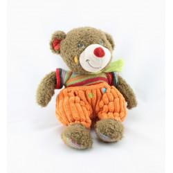 Doudou ours marron orange laine NICOTOY