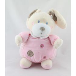 Doudou boule lapin rayé rose cercles coeurs NICOTOY