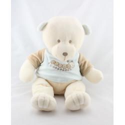 Grand Doudou ours blanc bleu chenille VACO