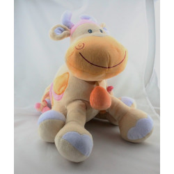 Grand Doudou eveil girafe vache beige taches orange rose NATTOU