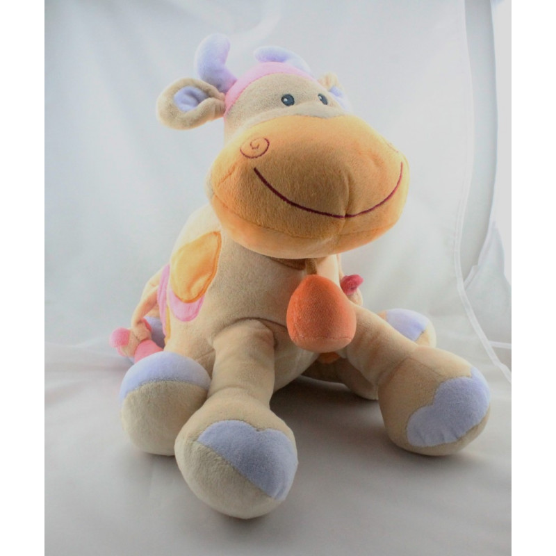Grand Doudou eveil girafe vache beige taches orange rose NATTOU