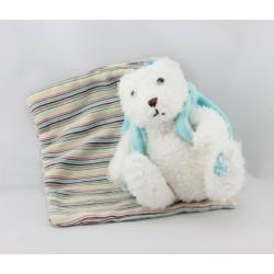 Doudou ours blanc sac à dos mouchoir rayé OBAIBI