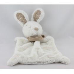 Doudou plat lapin blanc bandanas gris beige NICOTOY
