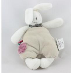 Doudou lapin blanc beige mauve Luc et Léa MOULIN ROTY