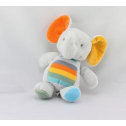 Doudou éléphant gris orange jaune bleu vert TEX