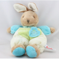 Doudou lapin bleu vert blanc TOODO