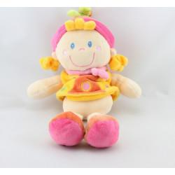 Doudou poupée lutin fille rose jaune MOTS D'ENFANTS