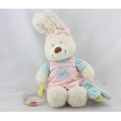 Doudou lapin blanc robe rose bleu papillon TEX BABY