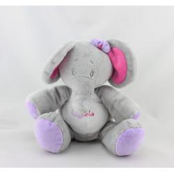 Doudou éléphant gris rose mauve Arthur et Lola BEBISOL