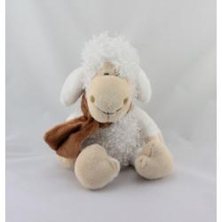 Doudou mouton blanc écharpe marron PLANET PLUCH