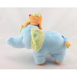 Doudou éléphant bleu oiseau orange BEBEREVE