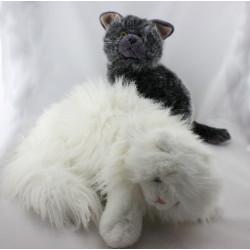 Peluche chat blanc angora et chat gris