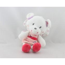 Doudou ours papillon blanc rose mauve fleurs POMMETTE