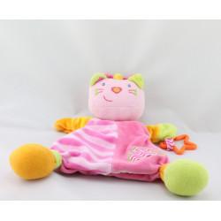Doudou plat marionnette chat rose vert hochet étoile BABYSUN