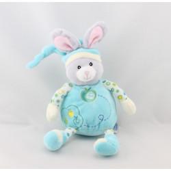 Doudou lapin bleu blanc pommes GIPSY
