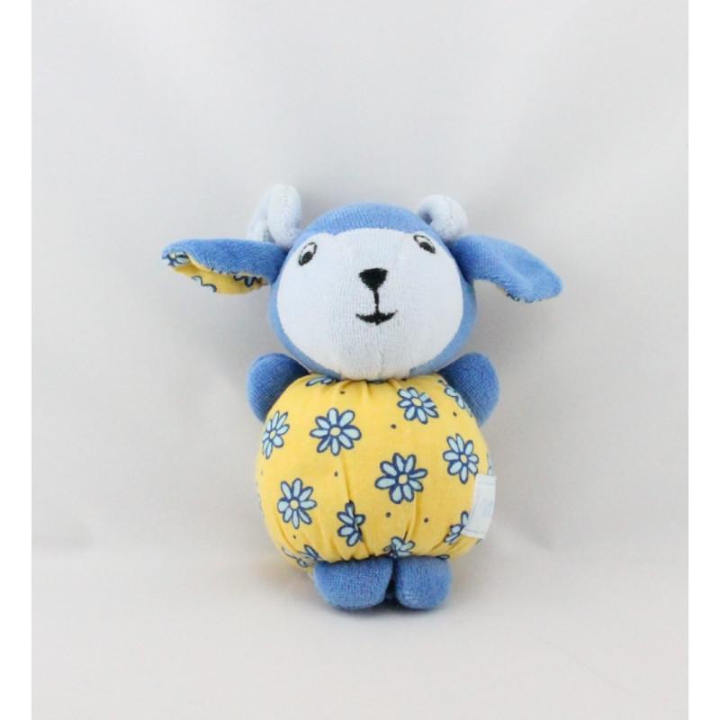 Mini Doudou mouton bleu jaune fleurs NOUNOURS