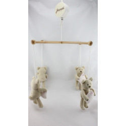 Mobile musical en bois doudou ours beige coussin rose JACADI