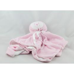 Doudou plat ours rose blanc J'aime Maman et Papa FRUIT DE MA PASSION