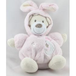 Doudou ours déguisé en lapin rose BABY AUCHAN