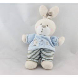 Doudou lapin rayé bleu ABC NICOTOY  LOT DE 2