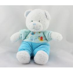 Doudou ours blanc bleu papillon escargot TEX BABY