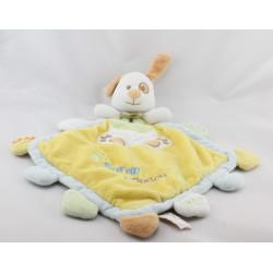 Doudou plat chien jaune bleu vert Super Doudou BABY NAT