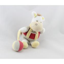 Doudou et compagnie ane cheval blanc rouge gris jaune balle