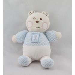 Doudou ours blanc bleu B coeur Bébé NOUNOURS