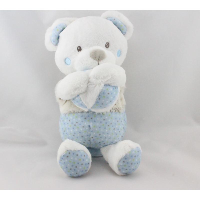 Doudou musical ours blanc beige bleu pois MOTS D'ENFANTS