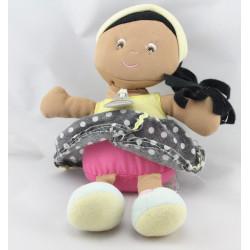 Doudou et compagnie poupée métis jaune rose noir pois