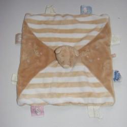 Doudou plat carré beige blanc rayé marron ours NOUKIE'S