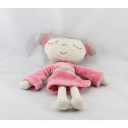 Doudou poupée fille beige robe rose TAPE A L'OEIL