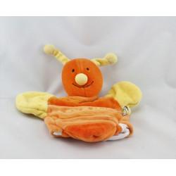 Doudou plat papillon abeille orange jaune UN REVE DE BEBE