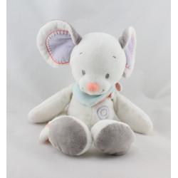 Doudou souris blanche grise foulard NATTOU