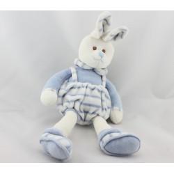 Doudou lapin blanc bleu BUKOWSKI