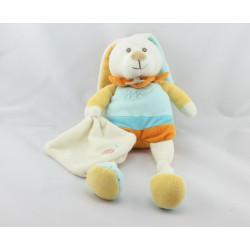 Doudou Lapin blanc bleu jaune orange mouchoir Baby nat