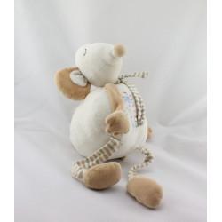 Doudou souris blanche beige kaki rayé PLAYKIDS