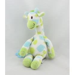 Doudou girafe blanche verte bleu HAPPY HORSE