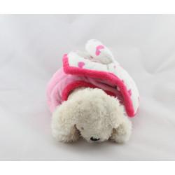 Doudou chien blanc dans sa niche rose KEEL TOYS