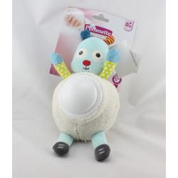 Doudou veilleuse mouton blanc vert bleu gris POMMETTE