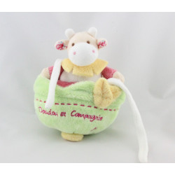 Doudou et compagnie musical vache blanche rose verte jaune