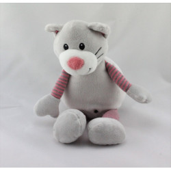 Doudou chat gris rose rayé CMI