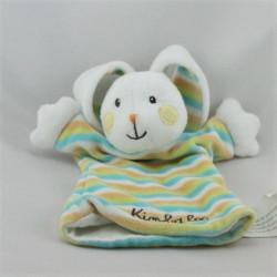 Doudou plat marionnette lapin blanc rayé bleu jaune orange KIMBALOO