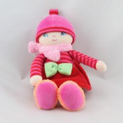 Doudou poupée chiffon grenadine rose rouge orange COROLLE